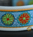 dogs-art Daisy Dot Easy Release Alu Buckle Leather Collar - creme/sun yellow/daisy dot blue-orange