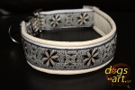 dogs-art Pinwheel Zinnia Easy Release Alu Buckle Leather Collar - creme/white/zinnia black