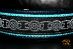 dogs-art Celtic Knot Easy Release Metal Buckle Leather collar - darkblue/aqua/silver