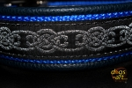 dogs-art Celtic Knot Easy Release Alu Buckle Leather Collar - dark blue/blue/celtic knot silver