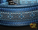 dogs-art Coral Easy Release Aluminum Buckle Leather Collar - darkblue/darkblue/coral