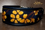 BIG-dog by dogs-art Flower Easy Release Metal Buckle Leather Collar - dark blue/yellow/blue