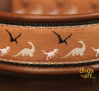 dogs-art Dino Easy Release Buckle Leather Collar - dark brown/black/dino