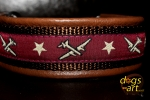 dogs-art Airplane Martingale Leather Collar - dark brown/brown/airplane burgundy
