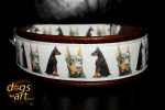 dogs-art Doberman Martingale Leather Collar - dark brown/brown/Doberman