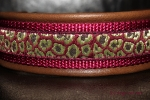 dogs-art Leo Martingale Chain Leather Collar - darkbrown/burgundy/leo burgundy