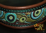 dogs-art Bubbles Martingale Leather Collar - dark brown/forest/bubbles lime