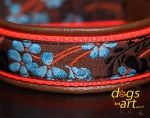 dogs-art Flower Easy Release Buckle Leather Collar - dark brown/orange/flower blue-brown