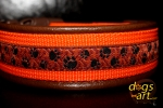 dogs-art Pawprint Easy Release Buckle Leather Collar - dark brown/orange/paw print