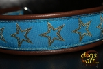 "dogs-art ""The star"" Martingale Chain Leather Collar - dark brown/sand/star"