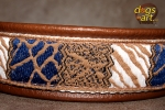 dogs-art Safari Martingale Chain Leather Collar - dark brown/white/blue