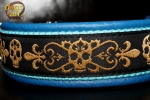 dogs-art Golden Skulls Easy Release Buckle Leather Collar - electric blue/aqua/golden skulls