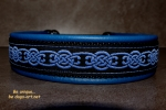 dogs-art Celtic Knot Martingale Leather Collar electric blue/black/blue