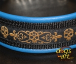 dogs-art Skulls Martingale Chain Leather Collar - electric blue/black/skull golden