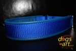 dogs-art Beautiful Plain Martingale Leather Collar - electric blue/blue