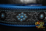 dogs-art Flower Star Easy Release Buckle Leather Collar - electric blue/darkblue/turquoise