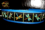 dogs-art Dragonfly Easy Release Alu Buckle Leather Collar - electric blue/light blue/dragonfly