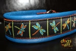 dogs-art Dragonfly Martingale Leather Collar - electric blue/orange/dragonfly
