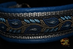 dogs-art Leaves Martingale Chain Leather Collar - electric blue/silver/leaves