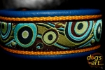 dogs-art Bubbles Martingale Leather Collar - electric blue/sunyellow/bubbles brown