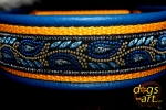 dogs-art Leaves Martingale Leather Collar - electric blue/sun yellow/leaves