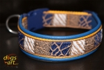 dogs-art Safari Martingale Leather Collar - electric blue/sunyellow/safari blue