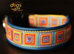 dogs-art Crazy Easy Release Buckle Leather Collar - electric blue/yellow/crazy