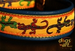 dogs-art Lizard Martingale Leather Collar - electric blue/yellow/lizard