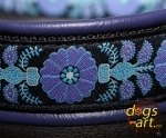 dogs-art Heartflower Martingale Leather Collar - electric purple/black/heartflower