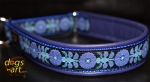 dogs-art Heartflower Martingale Leather Collar - electric purple/blue/heartflower