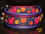 dogs-art Sunshine Flower Martingale Leather Collar - electric purple/burgundy/purple