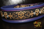 dogs-art Bling Skull Martingale Leather Collar - electric purple/lavendel/skull golden