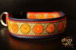 dogs-art Daisy Dot Easy Release Buckle Leather Collar - electric purple/orange/daisy dot olive