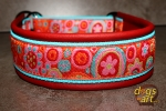 dogs-art Crazy Flower Martingale Leather Collar - red/aqua/crazy flower