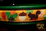 dogs-art Squirrels Martingale Leather Collar - green/brown/squirrels gold