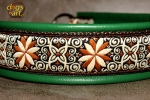 dogs-art Pinwheel Zinnia Martingale Chain Leather Collar - green/brown/zinnia creme-brown