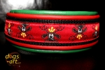 dogs-art TWICE Rudi Martingale Chain Leather Collar - green/fire red/black/rudi red