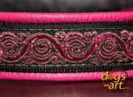 dogs-art Royal Candy Martingale Leather Collar - hot pink/black/pink
