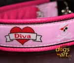 dogs-art Diva Martingale Chain Leather Collar - hot pink/black/Diva