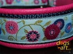 dogs-art Sunshine Flower Martingale Leather Collar - hot pink/dark blue/sunshine flower blue