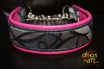 dogs-art Abstract Martingale Chain Leather Collar - hot pink/grey/grey