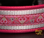 dogs-art Summer Fling Martingale Chain Leather Collar - hot pink/white/summer fling pink