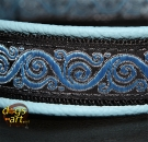 dogs-art Royal Candy Martingale Leather Collar - light blue/black/blue