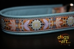 dogs-art Pinwheel Zinnia Martingale Leather Collar - light blue/sand/aqua
