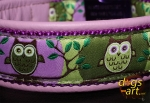dogs-art OWL Easy Release Alu Buckle Leather Collar - lilac/purple/owl forest