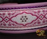 dogs-art Pink Pearl Easy Release Buckle Leather Collar - lilac/purple/pink pearl