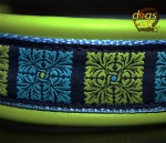 dogs-art Flower Quarter Martingale Leather Collar - lime/light blue/flower quarter blue
