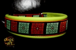 dogs-art Flower Quarter Martingale Leather Collar - lime/orange/orange