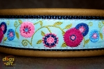 dogs-art Sunshine Flower Martingale Leather Collar - olive/dark blue/sunshine flower blue