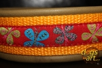 dogs-art Butterfly Martingale Leather Collar - olive/sunyellow/butterfly